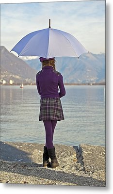 Girl With Umbrella Metal Print by Joana Kruse
