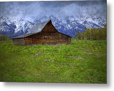 Grand Teton Iconic Mormon Barn Spring Storm Clouds Metal Print by John Stephens