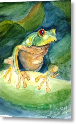 Green Tree Frog Metal Print by Therese Alcorn