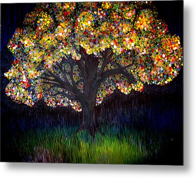 Metal Print featuring the painting Gumball Tree 0001 by Monica Furlow