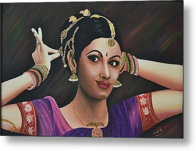 Indian Dancer Metal Print by Usha Rai