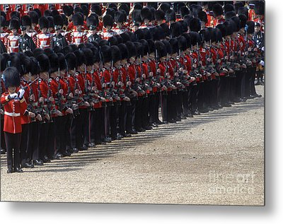 Irish Guards March Pass During The Last Metal Print by Andrew Chittock