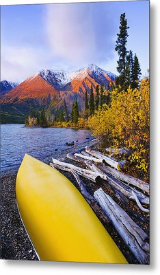 Kathleen Lake And Mountains, Kluane Metal Print by Yves Marcoux