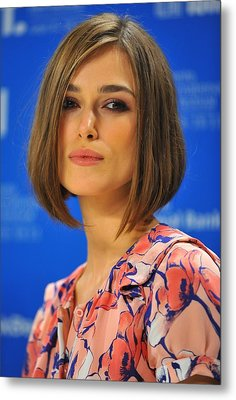 Keira Knightley At The Press Conference Metal Print by Everett