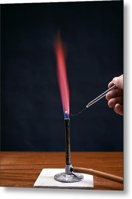 Lithium Flame Test Metal Print by Andrew Lambert Photography