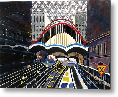 London Canary Wharf Station Metal Print by Lesley Giles