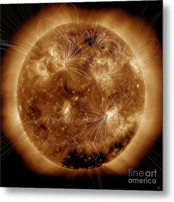 Magnetic Field Lines On The Sun Metal Print by Stocktrek Images