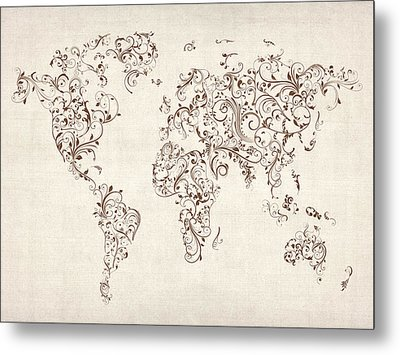 Map Of The World Map Floral Swirls Metal Print