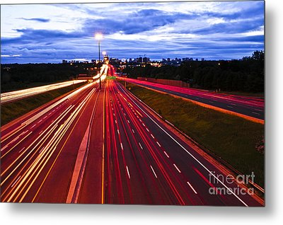Night Traffic Metal Print by Elena Elisseeva
