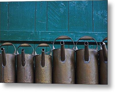 Old Watering Cans Metal Print by Joana Kruse