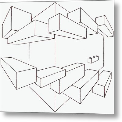 2-point Perspective Drawing Metal Print by Gregory Dean
