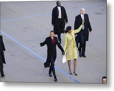 President And Michelle Obama Wave Metal Print