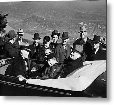 President Franklin D. Roosevelt In Car Metal Print