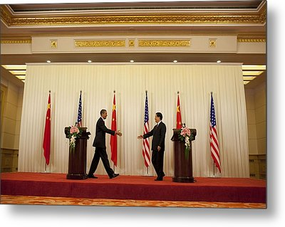 President Obama And Chinese President Metal Print by Everett