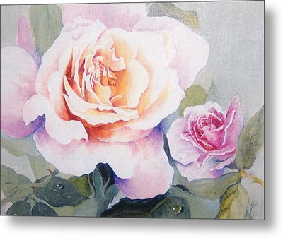 Roses And Waterdroplets Metal Print by Sandra Phryce-Jones