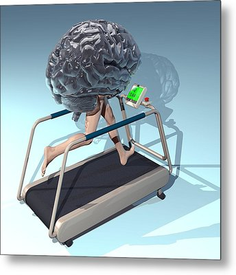 Running Brain, Conceptual Artwork Metal Print by Laguna Design