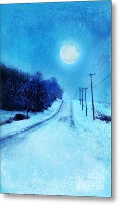 Rural Road In Winter Metal Print by Jill Battaglia