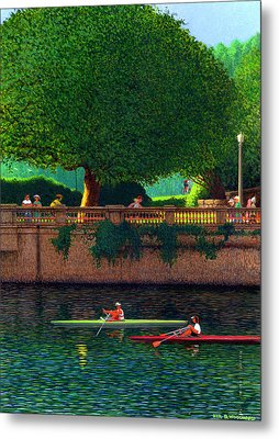 Scullers At Coal Harbour Metal Print by Neil Woodward