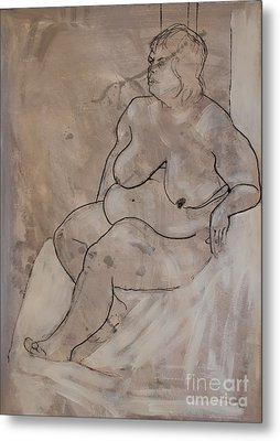 Seated Female Nude Metal Print by Joanne Claxton