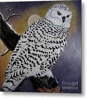Snowy Owl And Moon Metal Print by Sandra Maddox