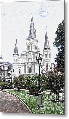 St Louis Cathedral Jackson Square French Quarter New Orleans Colored Pencil Digital Art  Metal Print