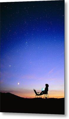 Starry Sky And Stargazer Metal Print by David Nunuk