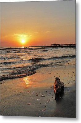 Sunset At Sea Coast Metal Print