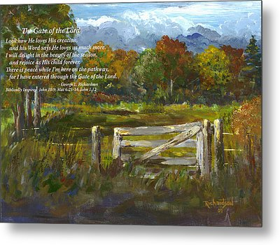 Metal Print featuring the painting The Gate Of The Lord With Poem by George Richardson
