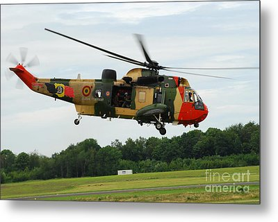 The Sea King Helicopter Of The Belgian Metal Print by Luc De Jaeger