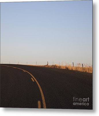 Two Lane Road Between Fields Metal Print by Jetta Productions, Inc