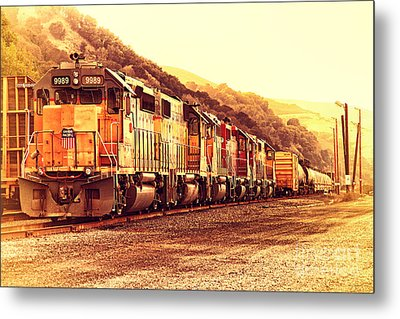 Union Pacific Locomotive Trains . 7d10563 Metal Print by Wingsdomain Art and Photography