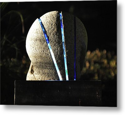 Untitled Glass And Rock Sculpture Metal Print by Tommy  Urbans