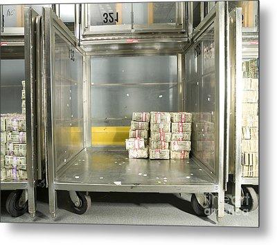 Us Dollar Bills In A Bank Cart Metal Print by Adam Crowley