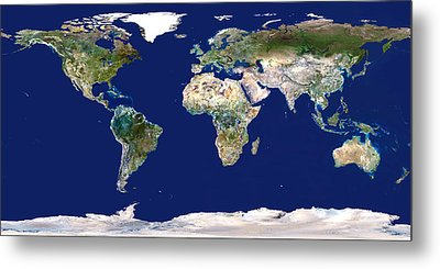 Whole Earth Map Metal Print by Planetobserver