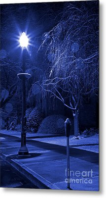 Winter Sidewalk Blues Metal Print by John Stephens