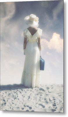 Woman With Suitcase Metal Print by Joana Kruse