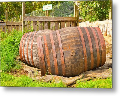 Wooden Barrels Metal Print by Tom Gowanlock
