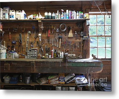 Work Bench And Tools Metal Print by Adam Crowley