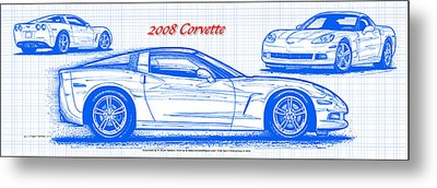 Metal Print featuring the drawing 2008 Corvette Blueprint by K Scott Teeters
