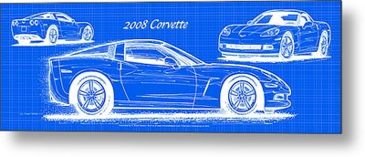 Metal Print featuring the drawing 2008 Corvette Reverse Blueprint by K Scott Teeters