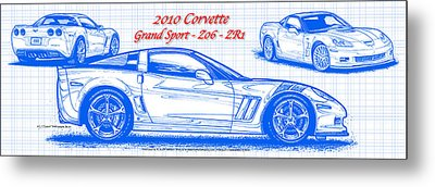 Metal Print featuring the drawing 2010 Corvette Grand Sport - Z06 - Zr1 Blueprint by K Scott Teeters