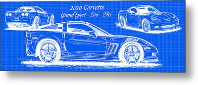 Metal Print featuring the drawing 2010 Corvette Grand Sport - Z06 - Zr1 Reverse Blueprint by K Scott Teeters