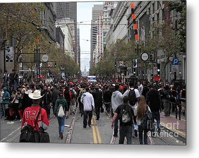 2012 San Francisco Giants World Series Champions Parade Crowd - Dpp0002 Metal Print by Wingsdomain Art and Photography