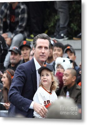 2012 San Francisco Giants World Series Champions Parade - Gavin Newsom - Dpp0005 Metal Print by Wingsdomain Art and Photography