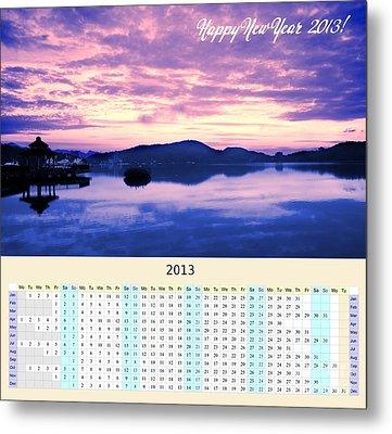 2013 Wall Calendar With Sun Moon Lake Sunrise Metal Print by Yali Shi