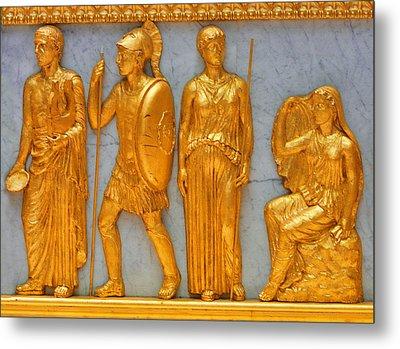 24 Kt. Gold Greek Figures Metal Print by Linda Phelps
