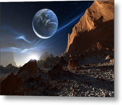 Alien Landscape, Artwork Metal Print by Detlev Van Ravenswaay