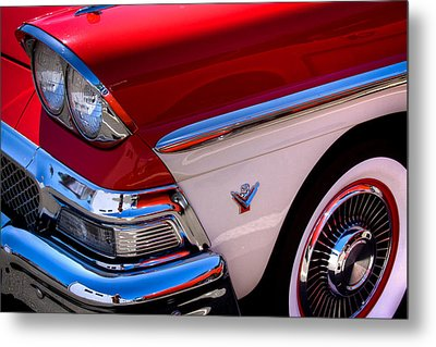 1958 Ford Fairlane Skyliner Convertible Metal Print by David Patterson