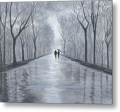 A Walk In The Park In Black And White Metal Print by Stuart B Yaeger