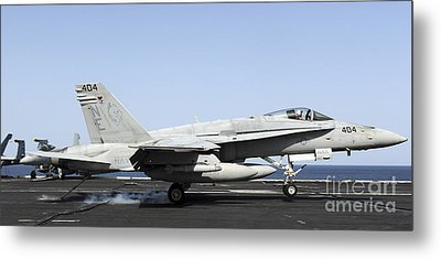 An Fa-18c Hornet Makes An Arrested Metal Print by Stocktrek Images